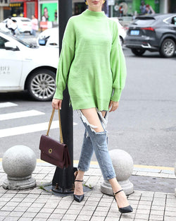 Women Solod Color Loose Fit Knit Sweater - Coendy