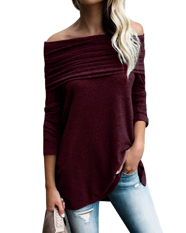 Women Tops Irregular Hem Soft Knitted Pullovers - Coendy