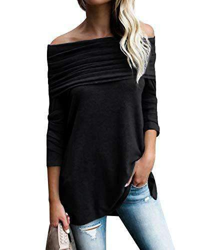 Kenoce Women Tops Irregular Hem Soft Knitted Pullovers TOPS Coendy X-black Large
