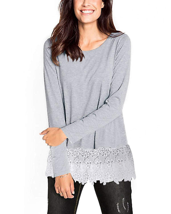 Women Tunic Lace Scoop Plain T-shirt - Coendy