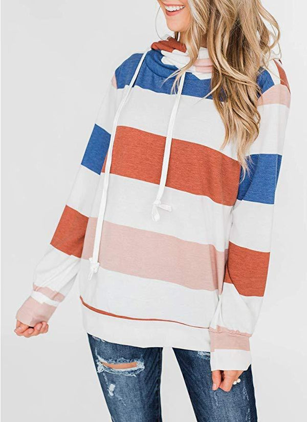 Womens Casual  Striped Hoodies Sweatshirts - Coendy