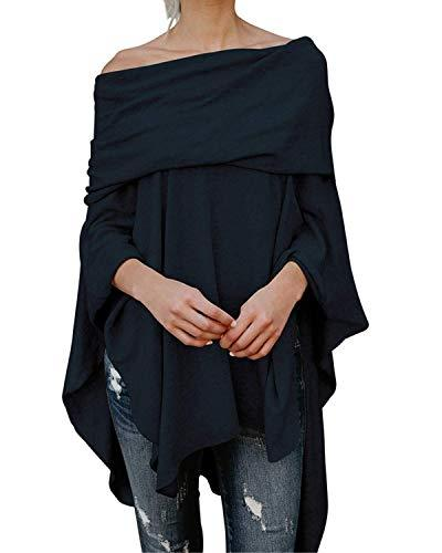Women's Off Shoulder Irregular Blouse Pullovers Tunic Top - Coendy