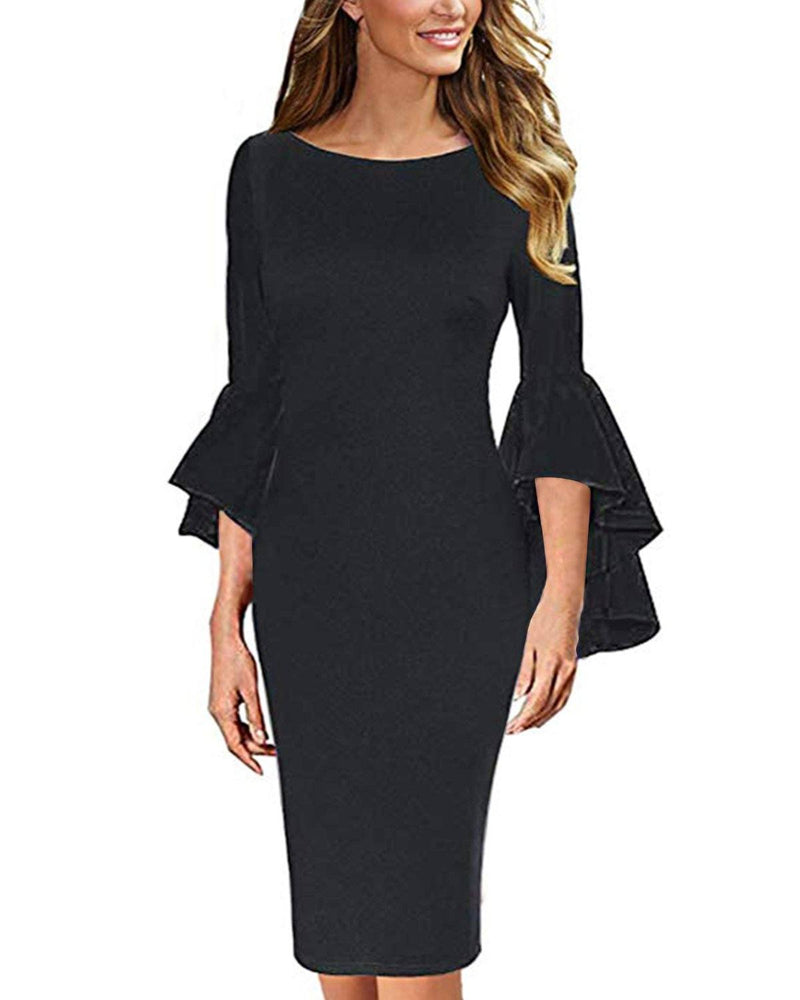 Womens Ruffle Bell Sleeves Cocktail Party Dresses - Coendy