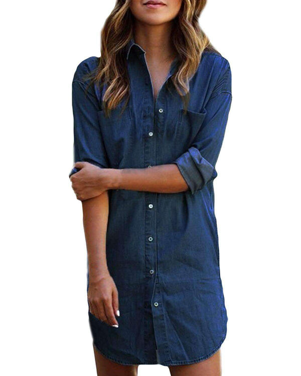 Women Blouse Denim Shirt Button Down Tops - Coendy