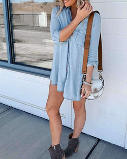 Women Long Sleeve Blouse Button Down Dress - Coendy