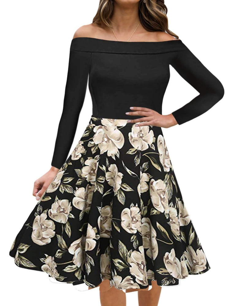 Women Vintage Floral Formal Cocktail Long Dress - Coendy