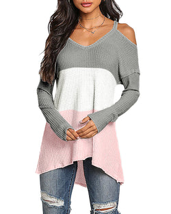 Knitted Sweaters for Women V Neck Cold Shoulder Long Sleeves Color Block