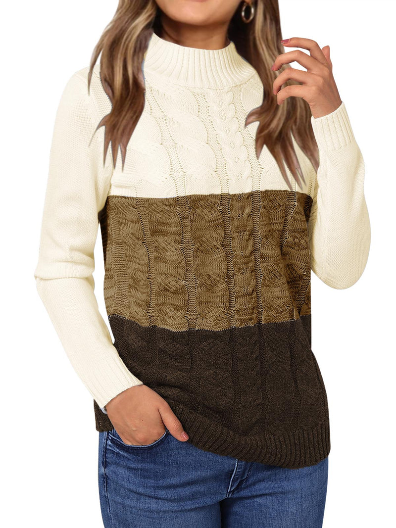 Women Casual Color Block Perkins Collar Knitting Sweater
