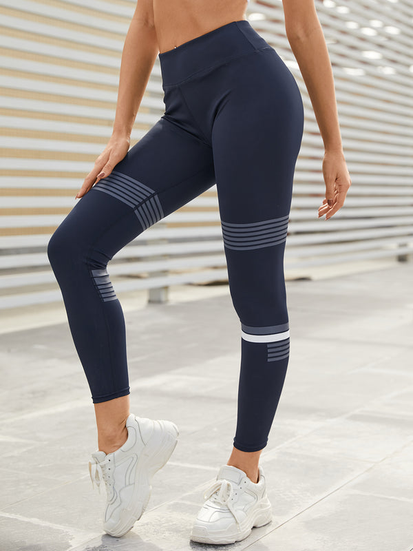 Navy Striped Super Stretch Riding Sport Yoga Pant