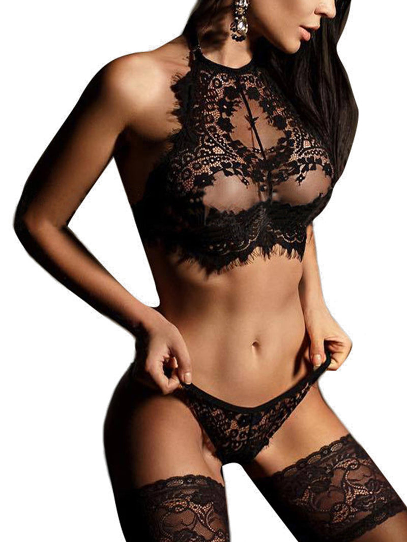 Women's Sexy Delicate See-Though Eyelash Trim Halter Lace Lingerie Set