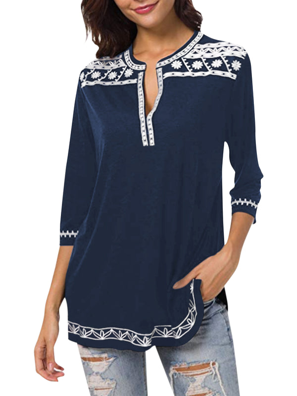 Women Ethnic Pattern Printed Casual Deep V Neck Blouse