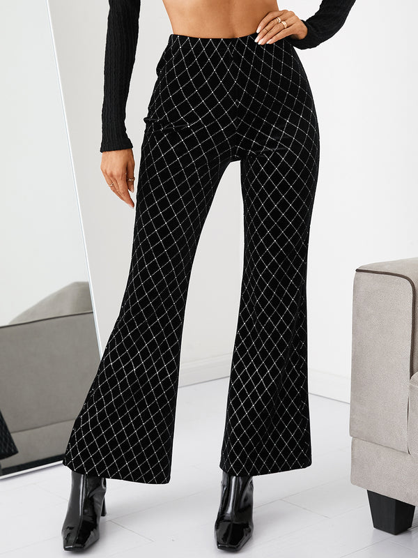 Black Geometric Velvet Loose Pants