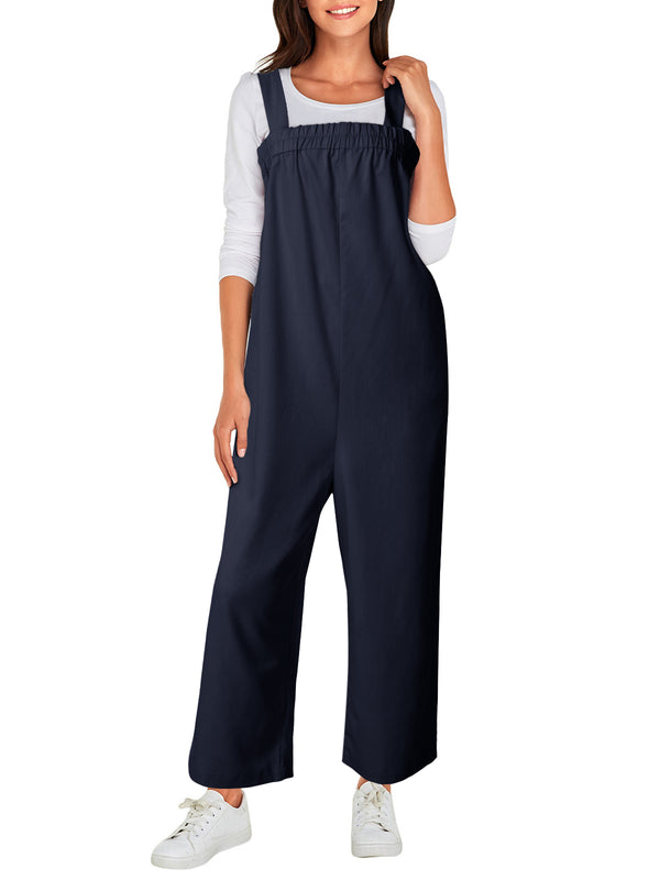 Womens Solid Casual Loose Jumpsuit Elastic Strap Pleated