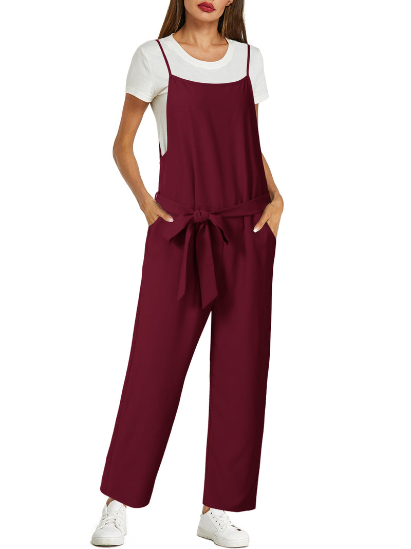 Women Drawstring High Waist Plain Overall