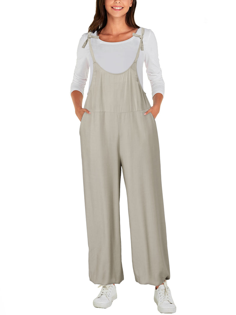 Women Loose High Waist Plain Knotted  Overall
