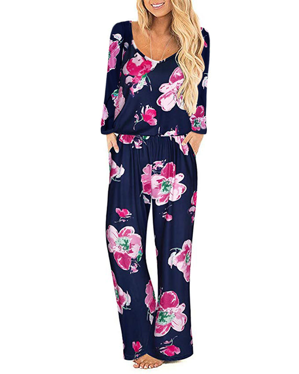 Womens Casual Floral Loose Fit Jumpsuit Pants with Pockets
