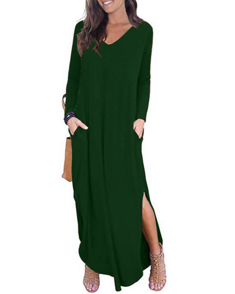 Women's Long Sleeve Summer Casual Loose Maxi Dress