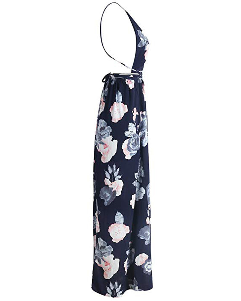 Women's Floral Slit Hem Summer Sling Backless Beach Maxi Dress