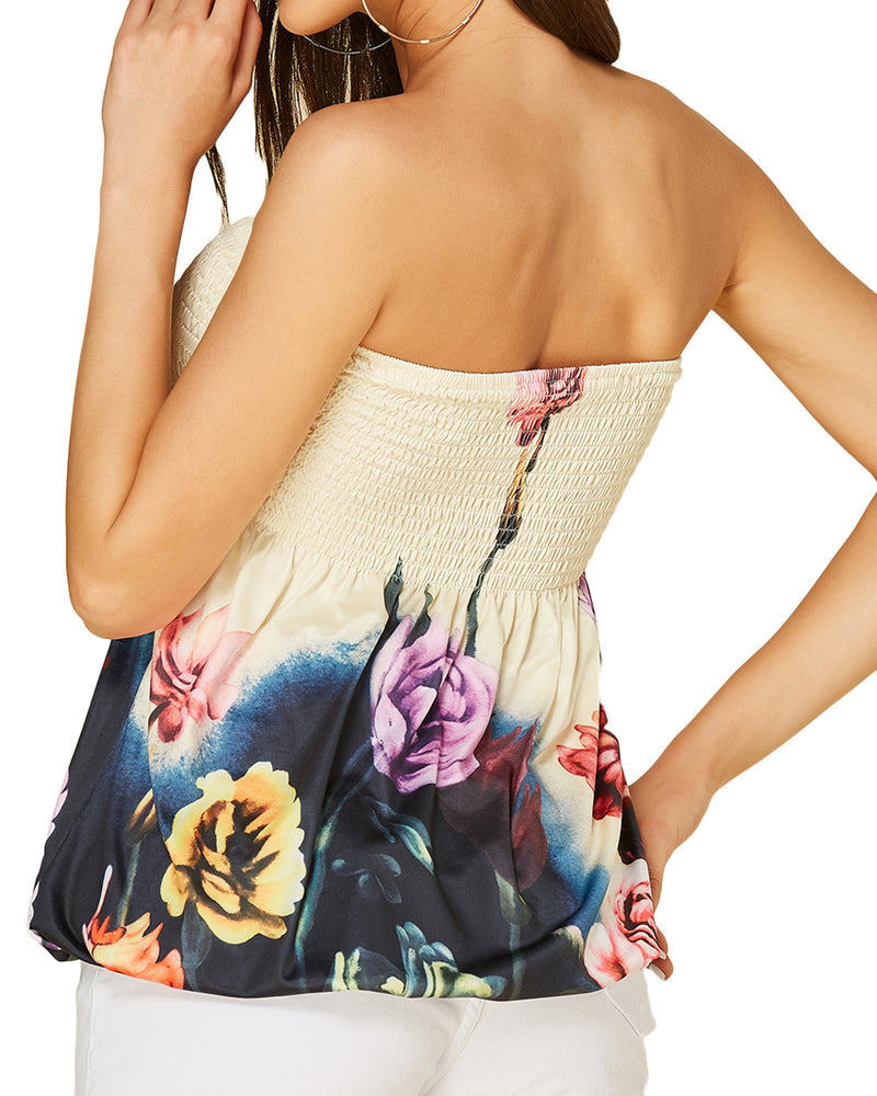 Women Floral Strapless Stretchy Pleated  Shirts Slimming Tube Tops