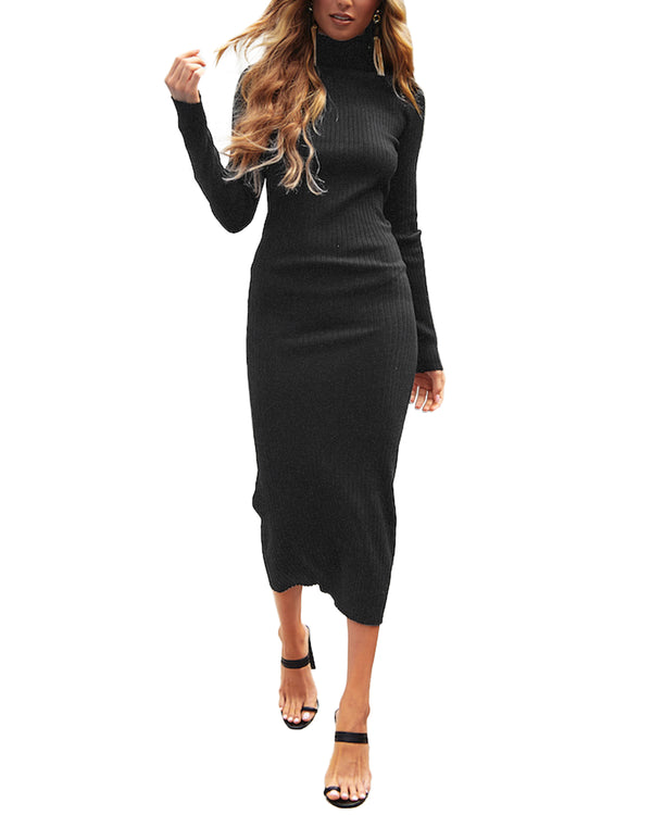 Women's Knit Bodycon Cable Long Sleeve Midi Dress