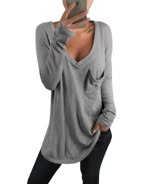 Women's Long Sleeve T-Shirt Casual Tee Solid Loose Tops