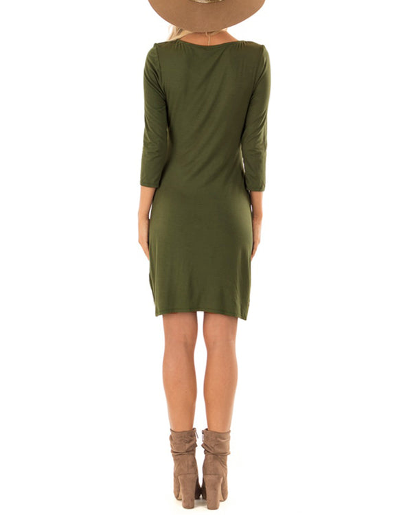 Women's Ruched Bodycon Casual 3/4 Sleeve Dresses - Coendy
