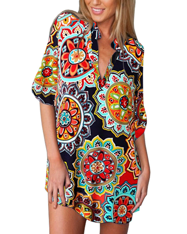 Women Casual V Neck Beach Cover Up Shirt - Coendy