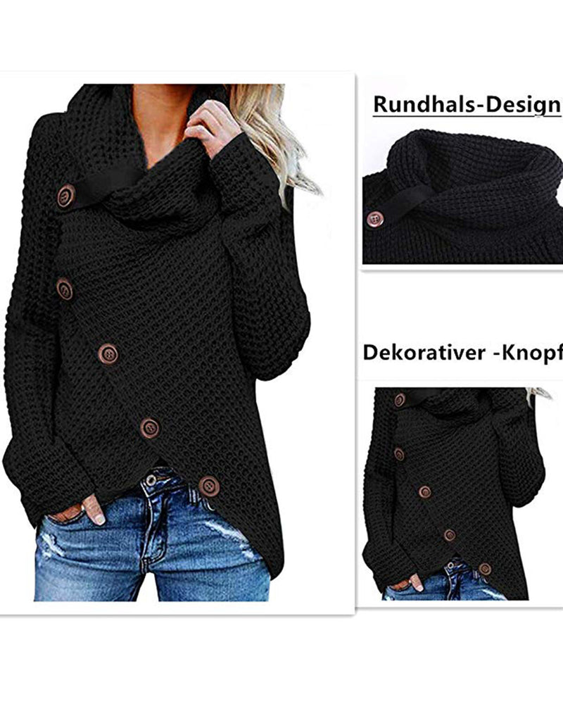 Women's Chunky Turtle Cowl Neck Button Sweater Asymmetric Hem Wrap Pullover