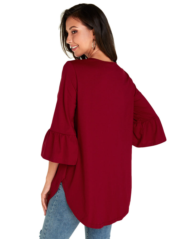 Women Tops Bell Sleeve T-Shirt 3/4 Ruffle Blouse - Coendy