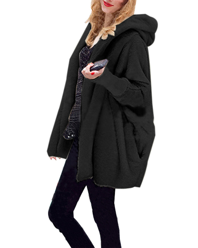 Women's Fuzzy Hooded Open Front Jacket Bat Sleeve Warm Winter Outwear