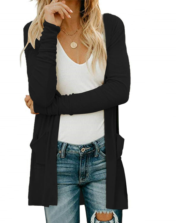Women Pleated Button Design Round Neck Long Sleeves Casual Cardigan