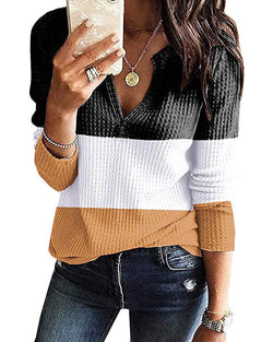 Waffle Knit V Neck Long Sleeve Henley Tee Loose Tunic Sweaters