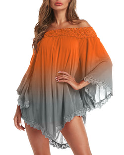 Women Sexy Off Shoulder Loose Beach Ombre Mini Dress