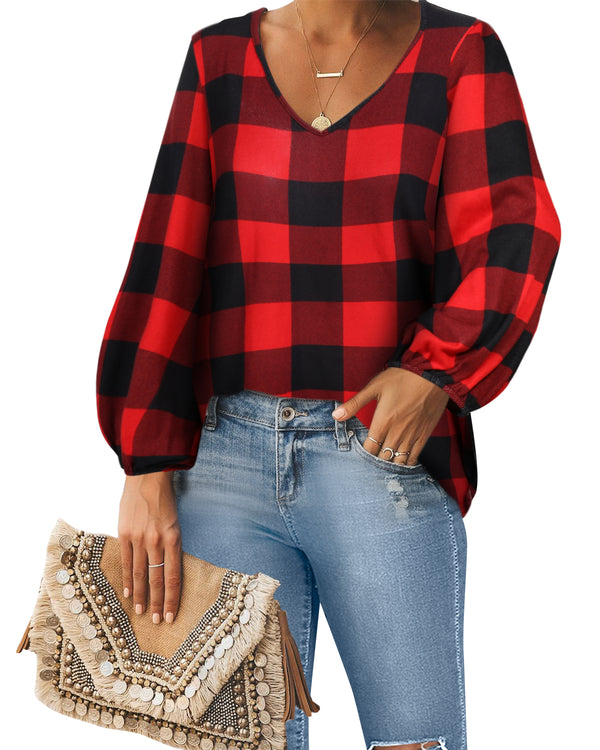Womens Lantern Sleeve Casual Loose Plaid Blouse