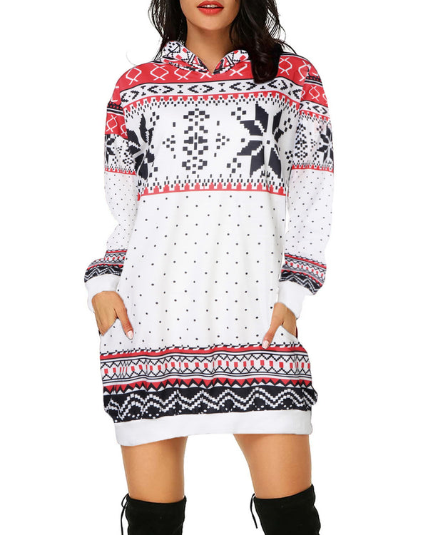 Women's Christmas Snowflake Print Pockets Sweater