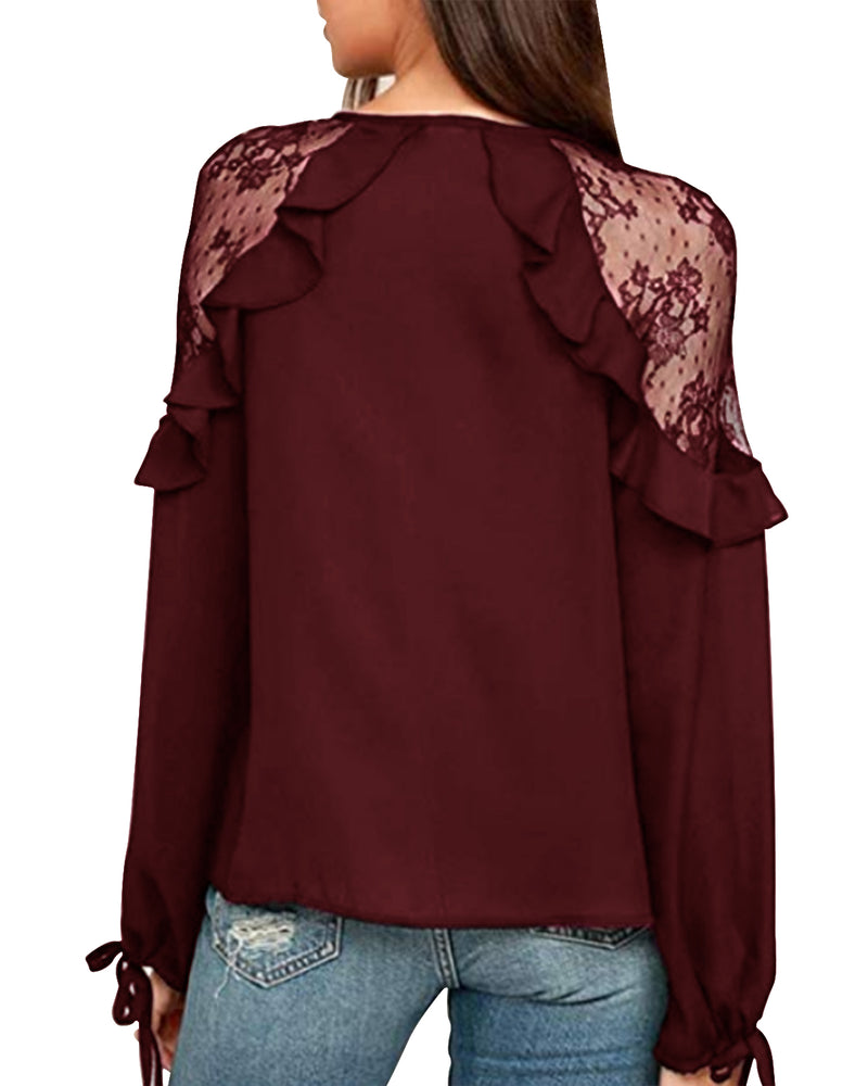 Elegant Lace Crochet Shirts for Womene V Neck Sexy Casual Tops