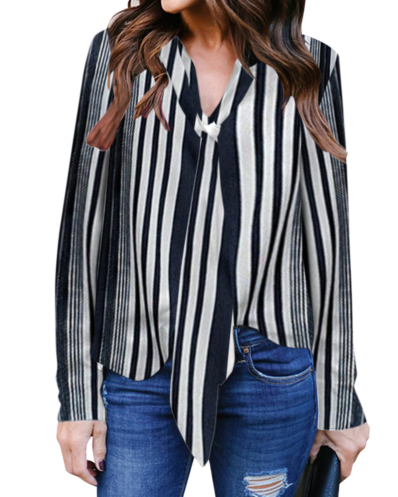 Women's Striped Casual V Neck 3/4 Cuffed Sleeve Blouse