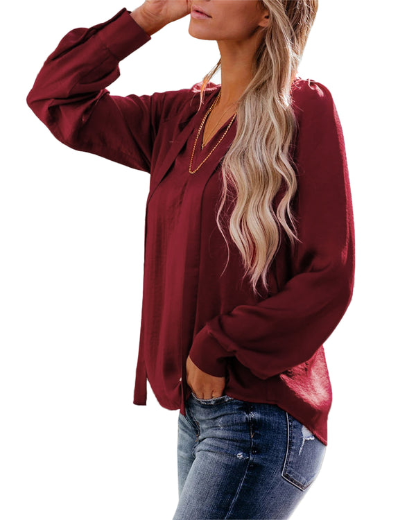 Women Casual Long Sleeve V Neck Lacing Shirts Loose Blouse Tops