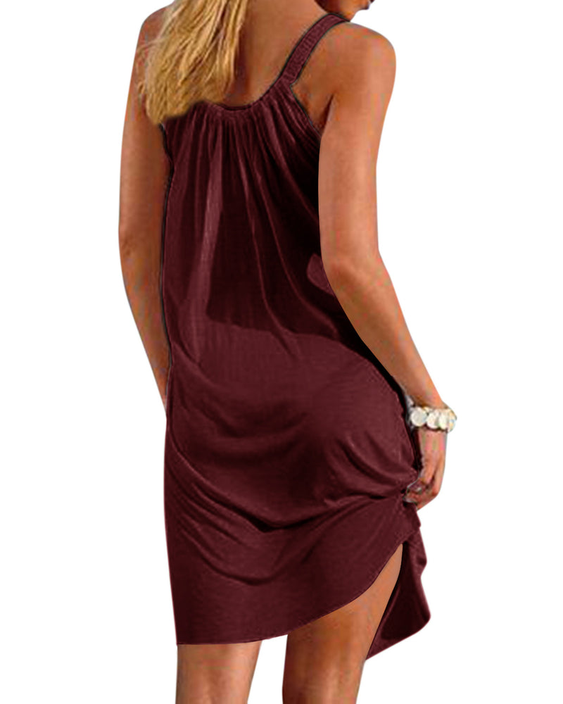 Women's Solid Color Halter Casual Loose Beach Mini Dress