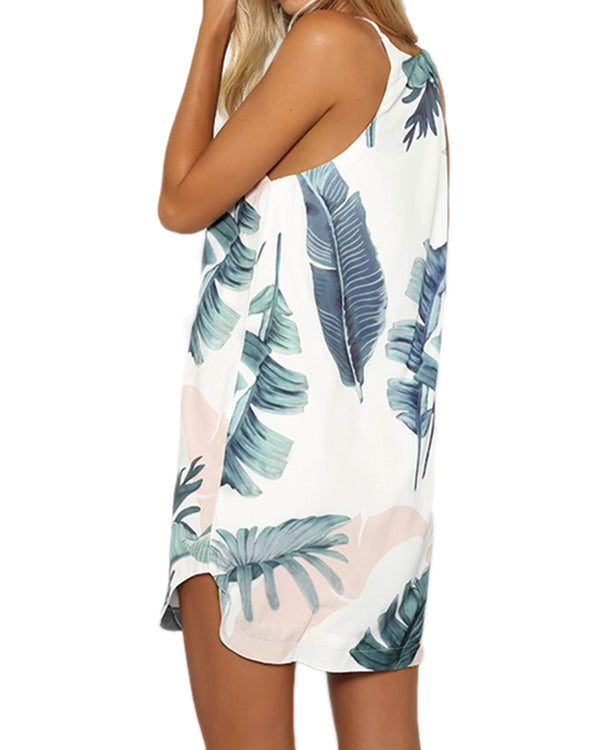 Women Mini Dress Tropical Floral Print Casual Holiday
