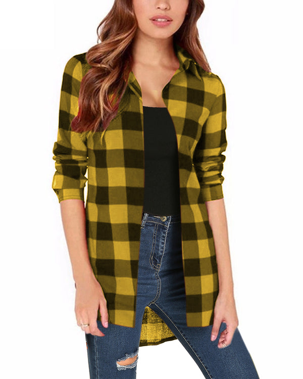 Women Buffalo Check Plaid Casual Button Shirt