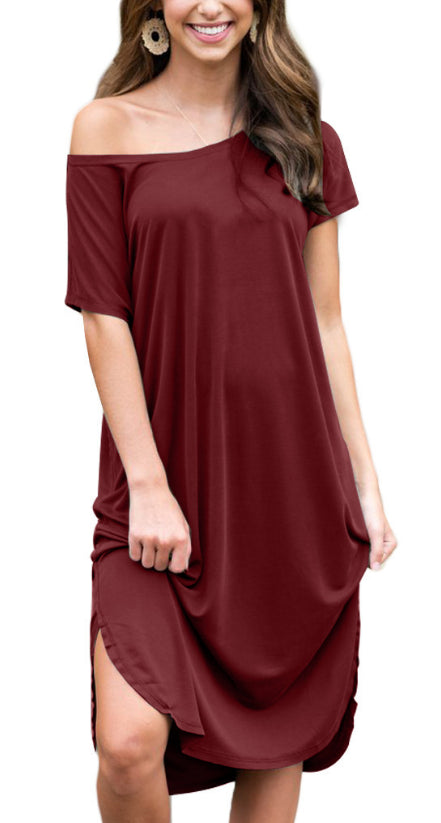 Women Solid Color Midi Dress Casual Loose Kaftan