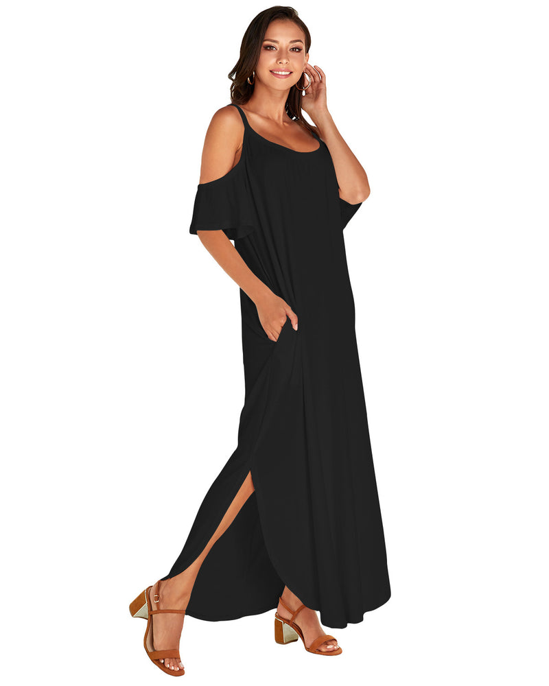 Women's Casual Cold Shoulder Maxi Dress with Pockets - Coendy