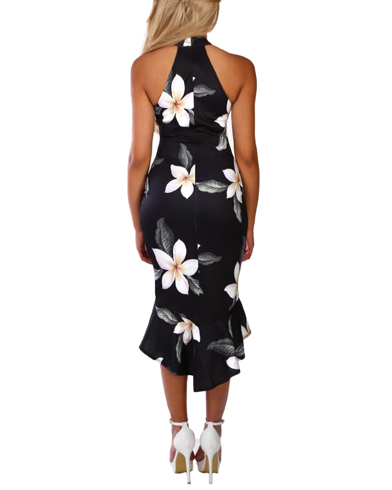 Women Sexy Crew Neck Sleeves Casual Loose Floral Midi Dresses