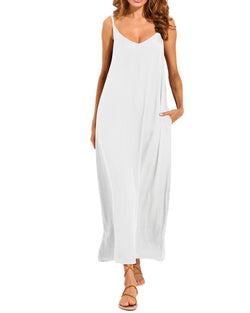 Womens Maxi Dress Casual Loose Solid Color Beach Sundress