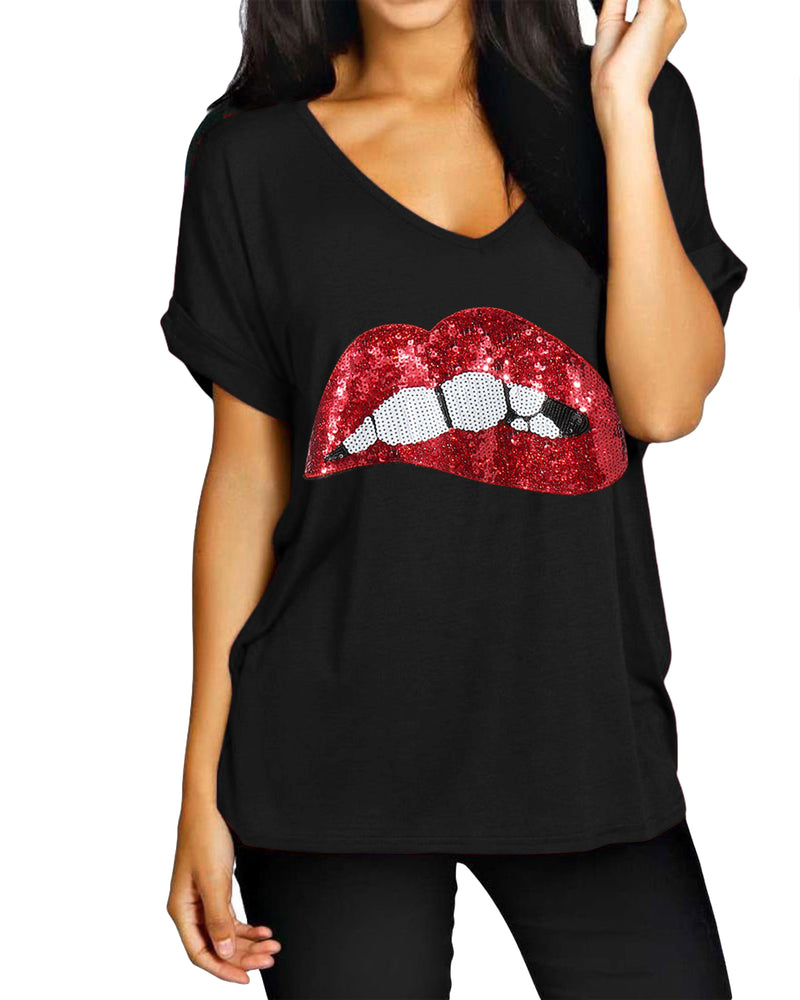 Women's Casual Graphic Tee V Neck T-Shirt Loose Tops