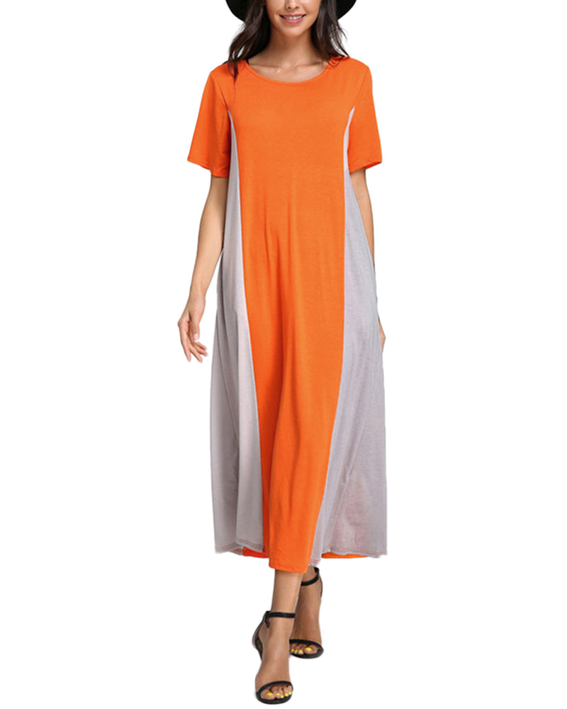 Women's Casual Short Sleeve Colorblock Baggy Maxi Dress