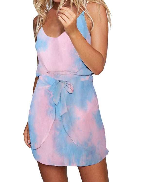 Womens Tie Dye Casual Party Belted A-Line Mini Dress