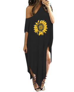 Women Casual Loose Kaftan Oversized Round Neck Sundress
