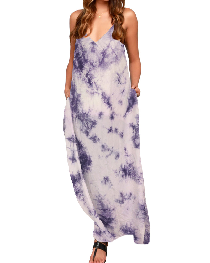 Women Tie Dye Spaghetti Strap Summer Maxi Dress Beach Sundress